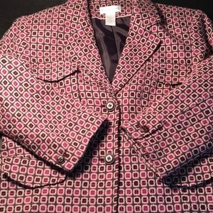 Worthington pink and grey mod blazer